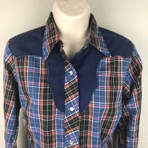 VTG 70s Lurex Country Western Snap Button Shirt